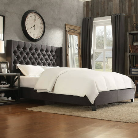 Weston Home Melford Wingback Tufted Linen Eastern King Size Platform Bed, Multiple Colors ()