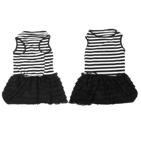 Summer Charming Chiffon Pet Puppy Dog Clothes Dog Apparel Dress Size M Black White