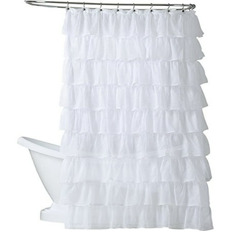 White Gypsy Ruffled Crushed Sheer Fabric Bathroom Shower Curtain 70 W X 72 L