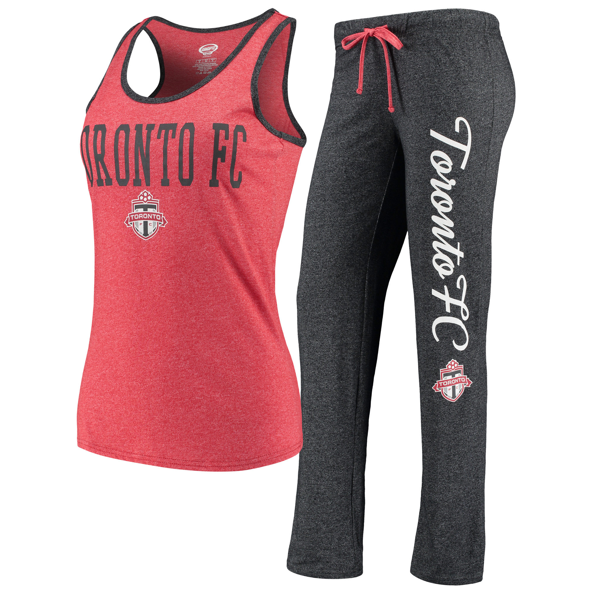 Toronto FC Concepts Sport Women's Spar Tank Top & Pants Sleep Set - Heathered Red/Heathered Charcoal