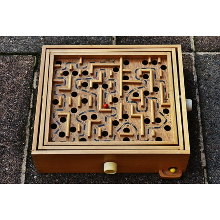 Framed Art For Your Wall Red Toys Play Wood Fun Labyrinth Puzzle Ball 10x13 Frame - Labyrinth Toys