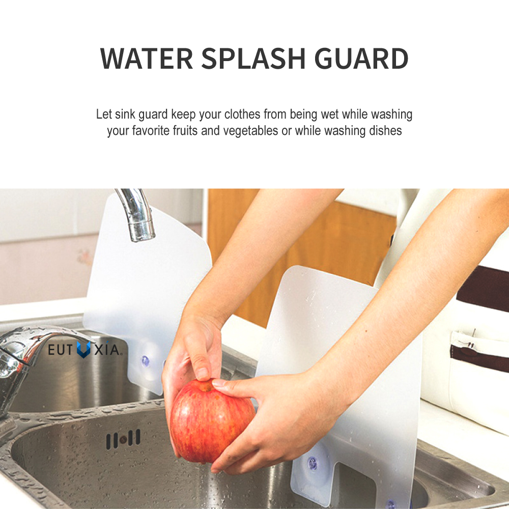 Eutuxia Silicone Sink Water Splash Guard W Suction Cups For Kitchen