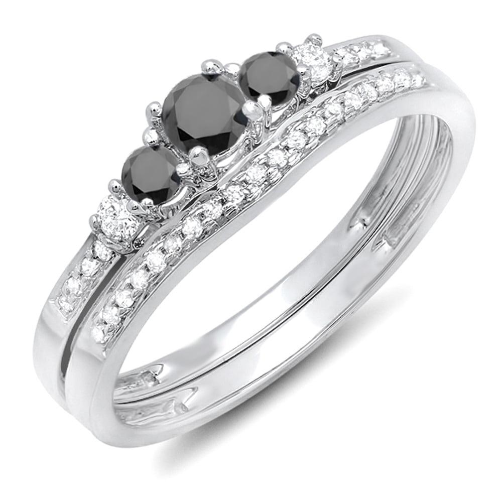 0.45 Carat (ctw) 18k White Gold Round Black And White Diamond Ladies 5 Stone Bridal Engagement Ring Set