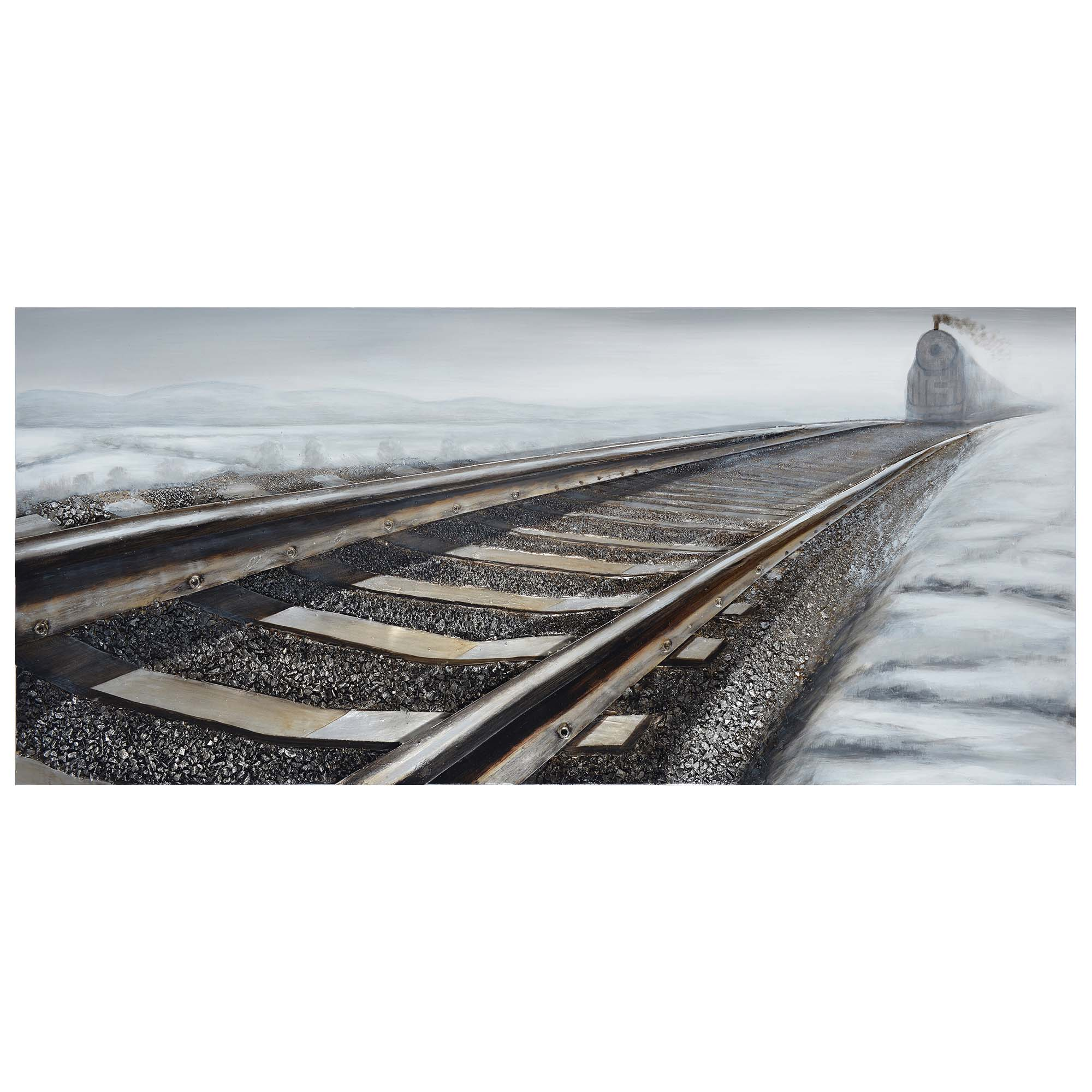 """Gray """"Train Tracks """" 3D Oil Painting On Canvas Wood Wall ..."""