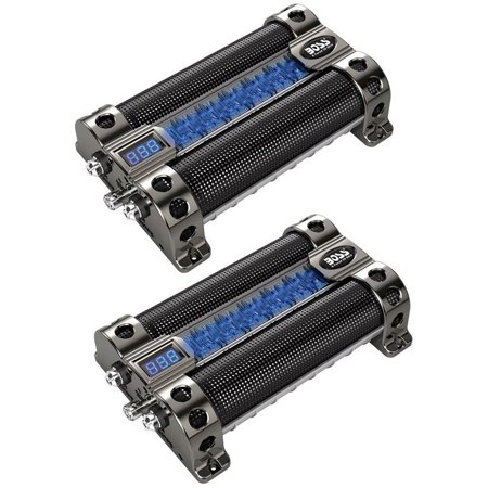 2) BOSS CAP8 8 FARAD LED Digital Voltage Display Car Audio Power Capacitors Caps (Farad Capacitor Car Audio)
