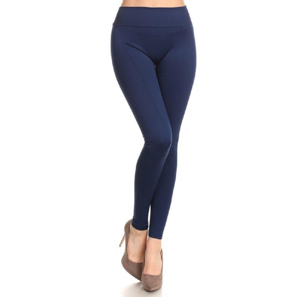 Navy Blue Solid W// POCKETS Women/'s Leggings PS TC Plus Size 12-20 L//XL
