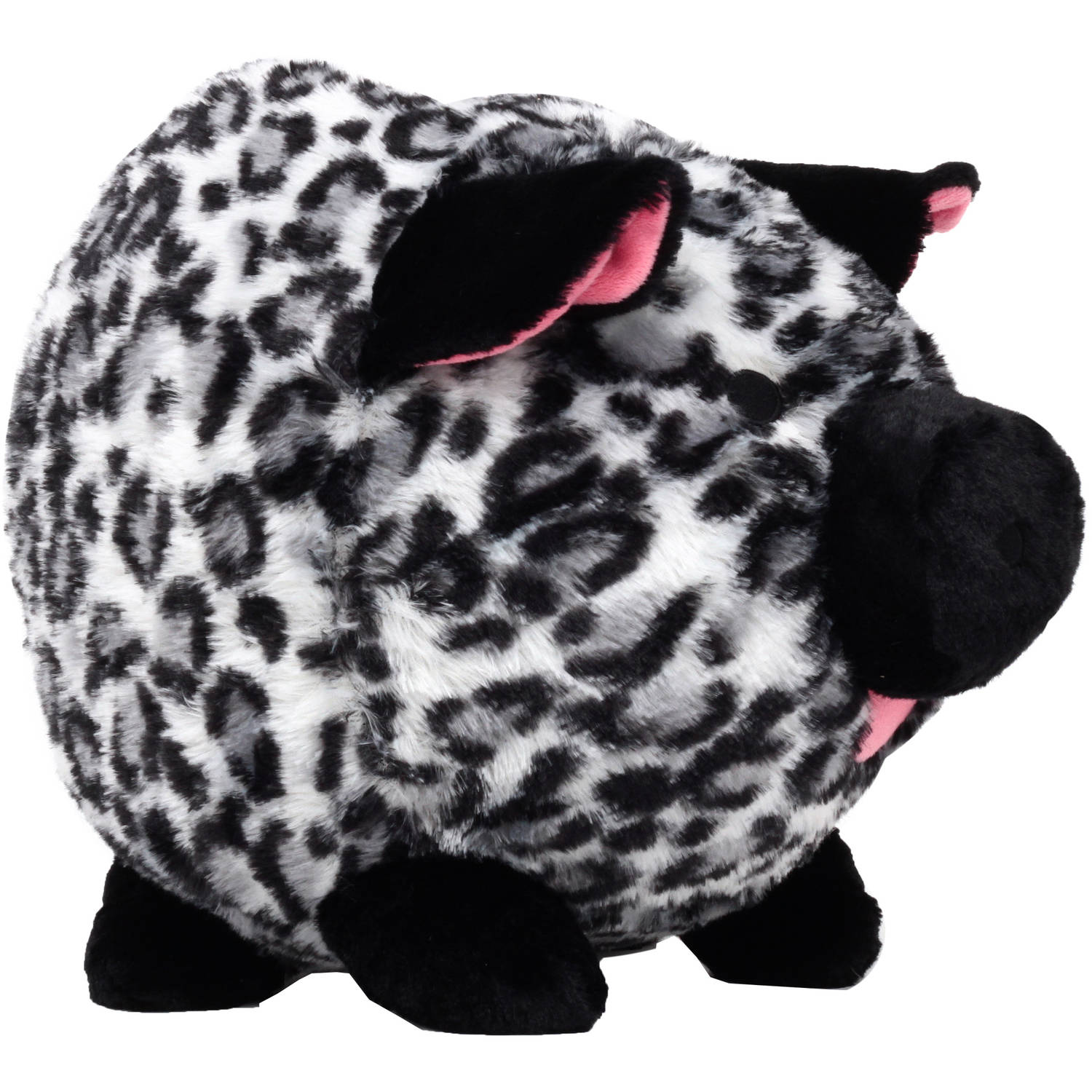 Black and White Leopard Plush Piggy  Bank