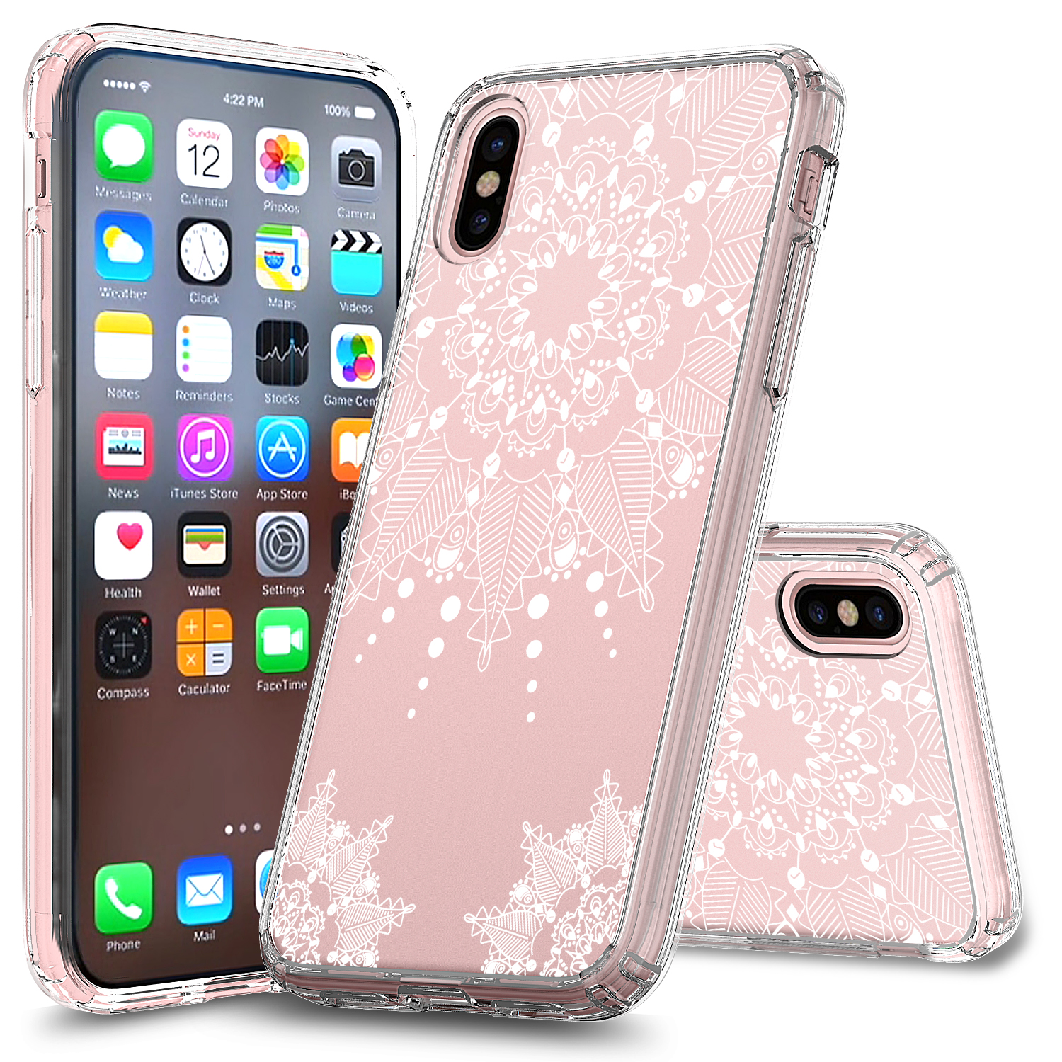 iPhone X Case (5.8'), APPLE IPhone X Case, Torryka Slim Clear anti-scratch Pattern Designed Slim Shockproof Hard PC+TPU Bumper Protective Armor Defender Cover for Apple iPhone X (Mandala Floral)