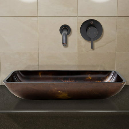 Vigo Rectangular Brown and Gold Fusion Glass Vessel Sink and Wall Mount Faucet Set, Antique Rubbed Bronze