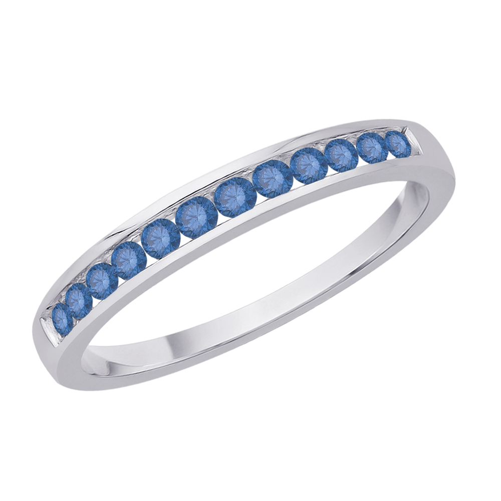 Sterling Silver, Blue Diamond Wedding Band (1/4 cttw)