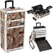 Sunrise I3663LPBR Leopard Trolley Makeup Case - I3663