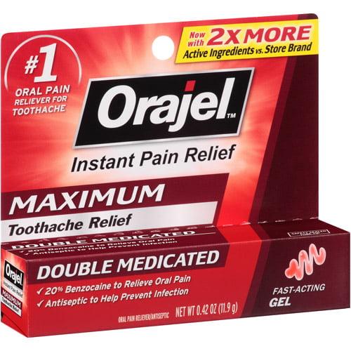 Orajel Immediate Toothache Pain Reliever, Maximum Strength Gel, .42 Oz