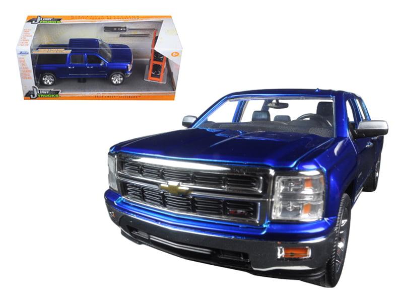 "2014 Chevrolet Silverado Pickup Truck Blue Just Trucks"" with Extra Wheels 1 24... by Jada"