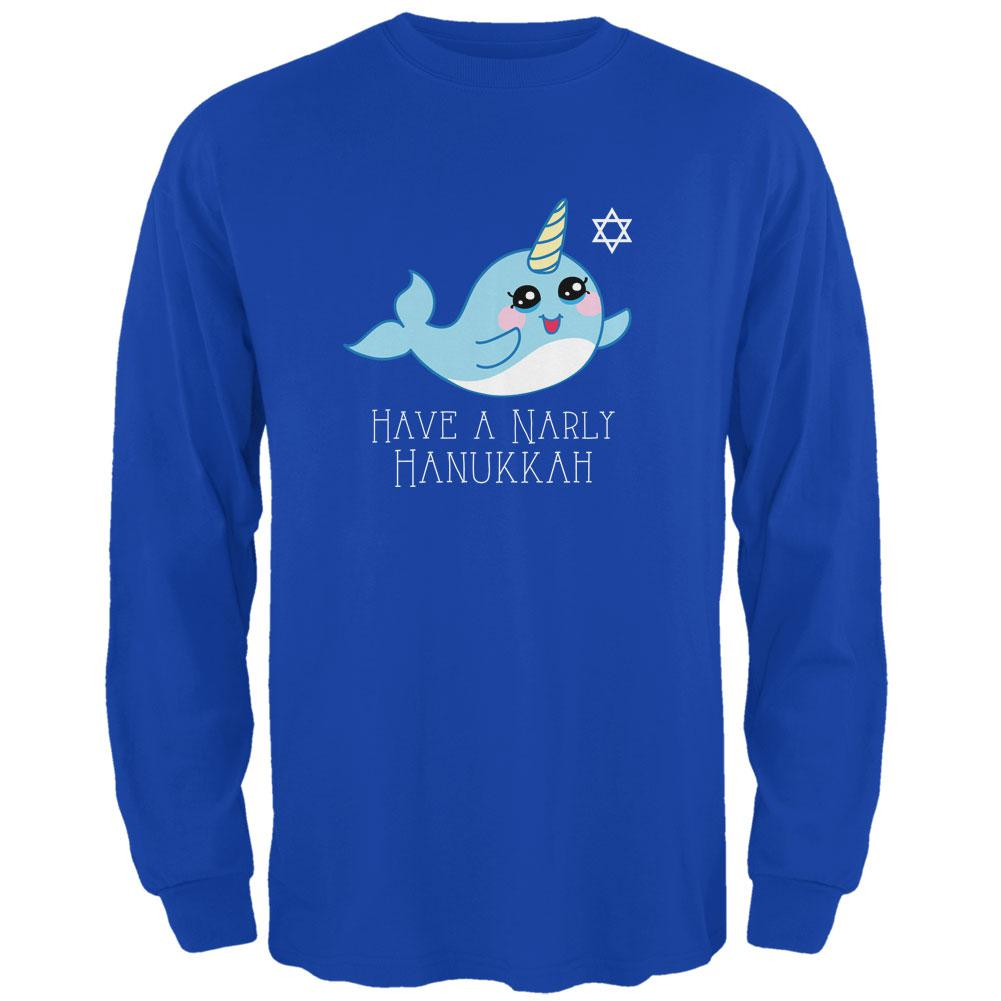 Narwhal Have a Narly Gnarly Hanukkah Mens Long Sleeve T Shirt by Old Glory