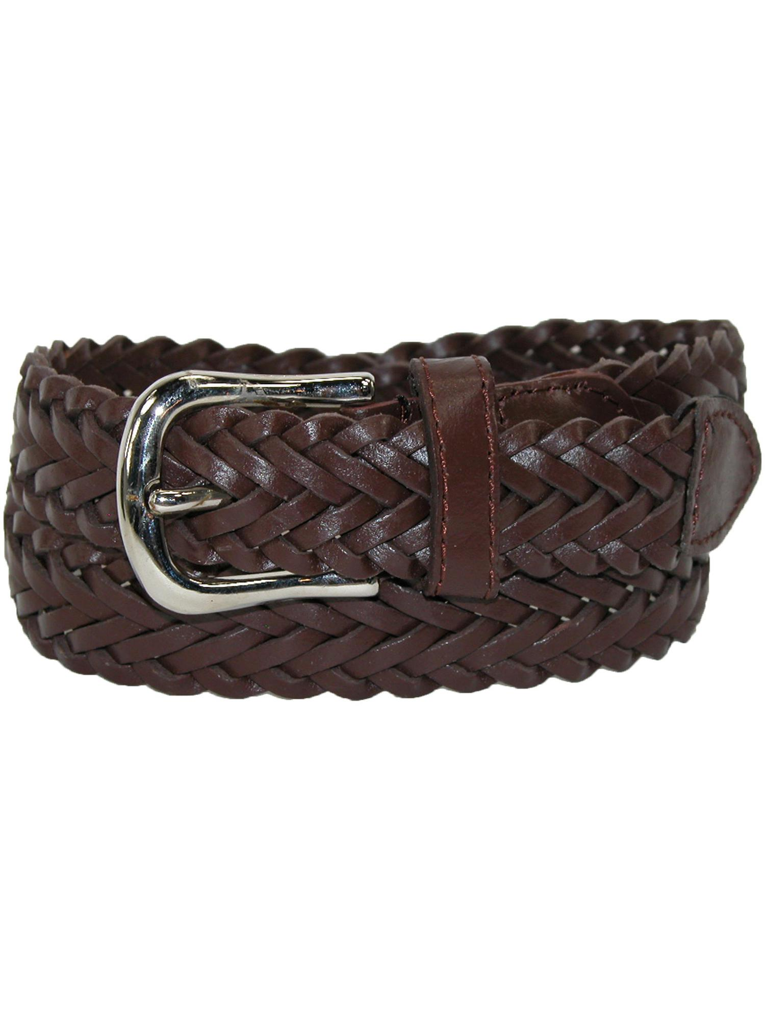 Boy's Leather 3/4 Inch Adjustable Braided Dress Belt