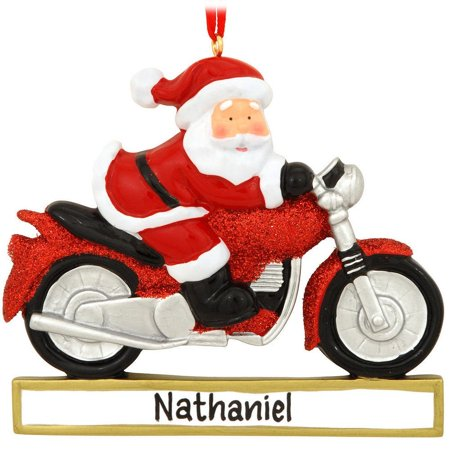 Santa on Motorcycle Personalized Christmas Tree Ornament, Each Personalized Christmas  Ornament includes a ribbon loop - Santa On Motorcycle Personalized Christmas Tree Ornament, Each