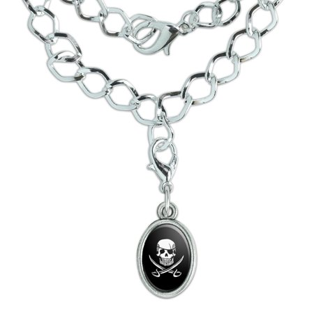 Pirate Skull Crossed Swords Tattoo Design Silver Plated Bracelet with Antiqued Oval Charm Silver Studded Skull Design