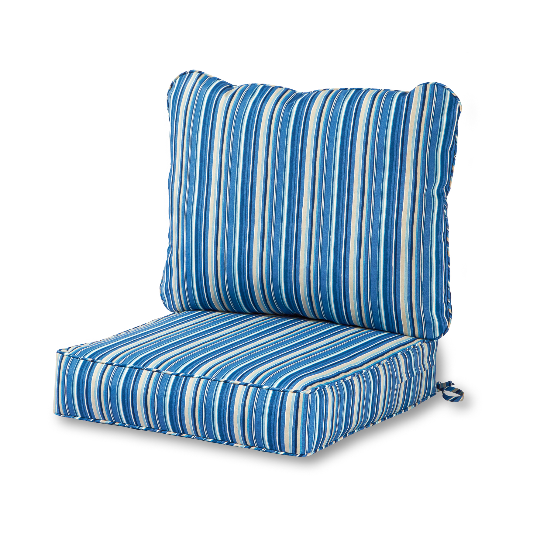 Greendale Home Fashions Outdoor Coastal Stripe Deep Seat Cushion Set