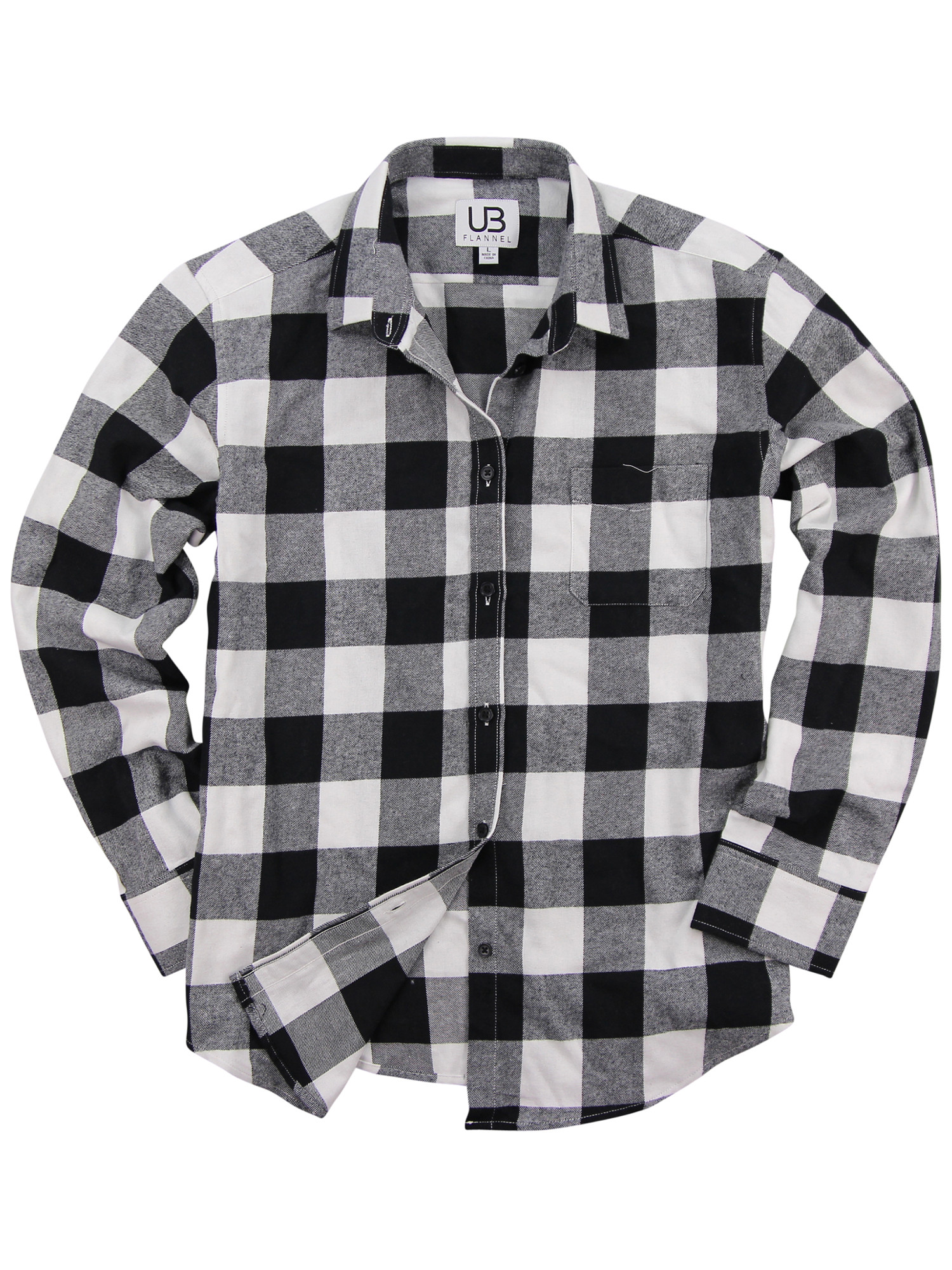 e1bb18ac019ce5 Urban Boundaries - Women's Long Sleeve Flannel Shirt w/Point Collar (Black/ White, X-Small) - Walmart.com