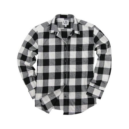 Women's Long Sleeve Flannel Shirt w/Point Collar (Black/White,