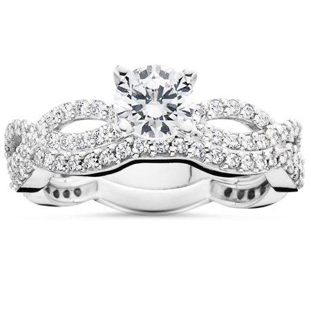 1ct pave natural diamond engagement infinity wedding ring set 14k white gold walmartcom - Infinity Wedding Ring Set