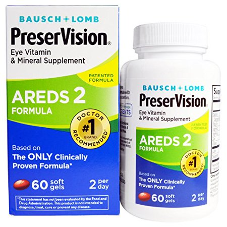 2 Pk Bausch + Lomb PreserVision Eye Vitamin Supplement AREDS 2 Formula 60 Ct