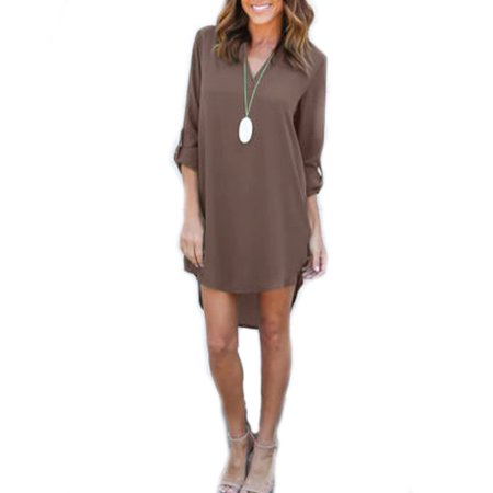 a4bc9be06c2 Sexy Dance - Women Casual Long Roll-Up Sleeve V Neck T Shirt Tunic Dress  Ladies Summer Loose High Low Blouse Irregular Tops Plus Size - Walmart.com
