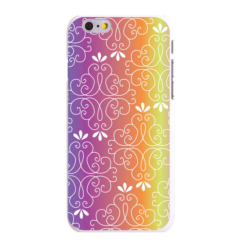 "CUSTOM White Hard Plastic Snap-On Case for Apple iPhone 6 / 6S (4.7"" Screen) - Blue Purple Orange Yellow Pink Gradient"
