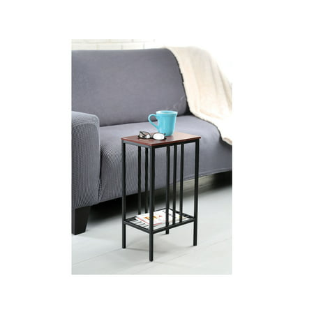 Walnut Accent (Chair Side Sofa Accent Table - Black Iron with Walnut Top Storage Table - Snack TV Tray for Small Spaces )