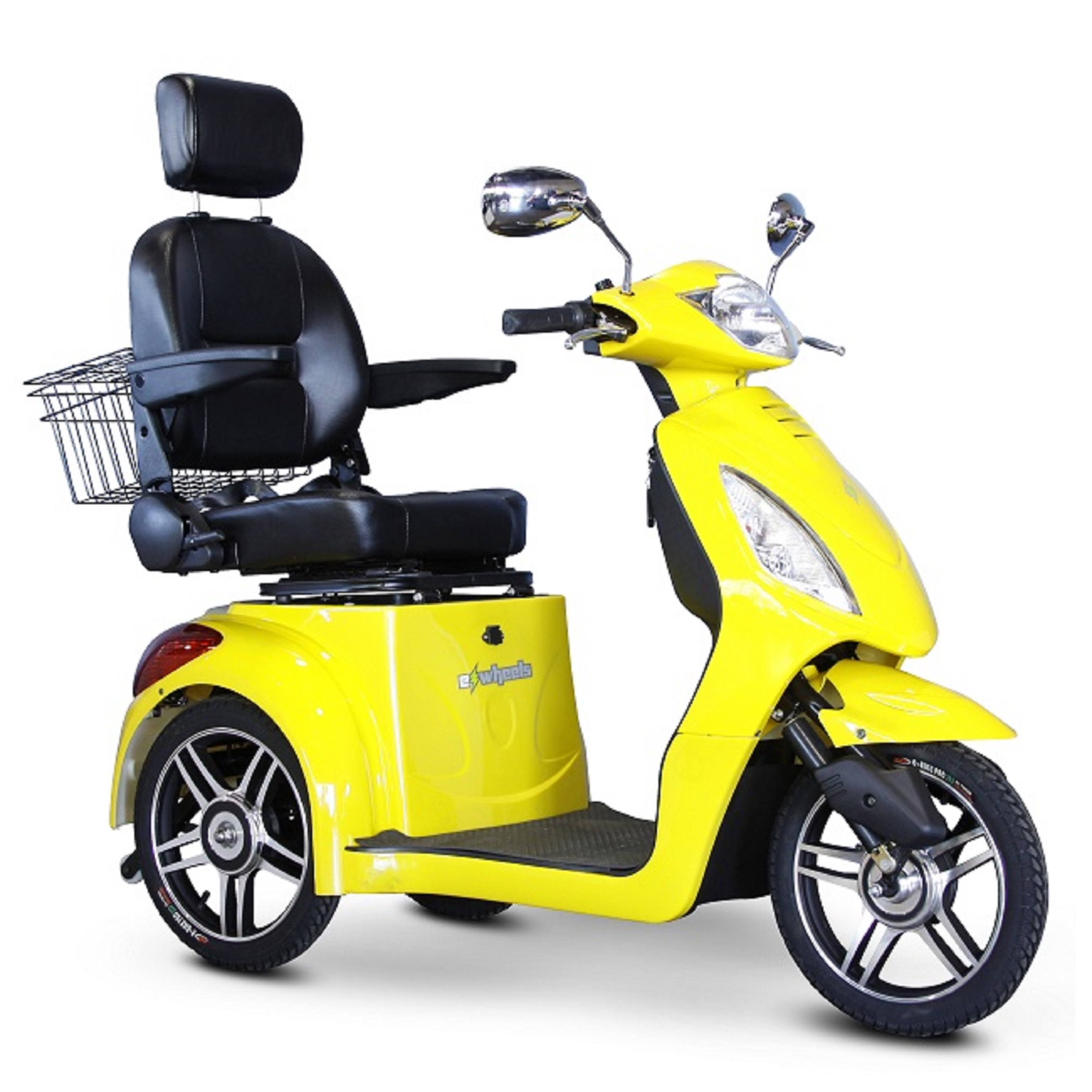 E-Wheels - POWER PACKAGE ($500 VALUE) - EW-36 Slowpoke Scooter with Electromagnetic Brakes - 3-Wheel - Yellow