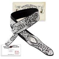 Walker & Williams SF-03 White & Black Snake Pattern Guitar Strap with Snakehead