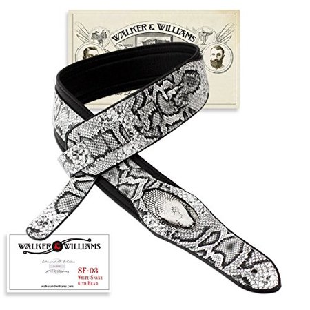 Williams Cool Patterns (Walker & Williams SF-03 White & Black Snake Pattern Guitar Strap with Snakehead)