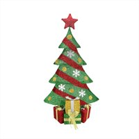 """39"""" Lighted Green and Red Tinsel Decorated Christmas Tree with Gifts Yard Art Decoration"""