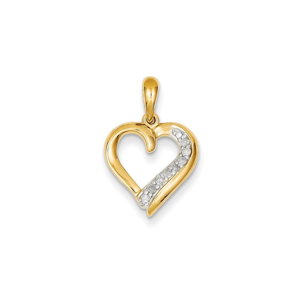 14k Yellow Gold Diamond Heart Pendant. Carat Wt- 0.1ct