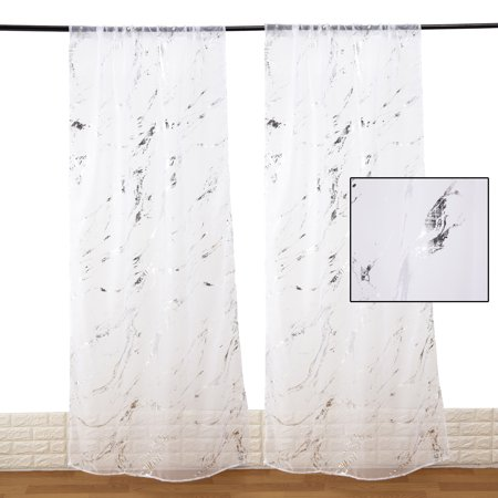 Crinkle Voile Curtain - NK HOME Sheer Curtains, Rod Pocket Voile Drapes for Living room, Bedroom, Window Treatments Semi Crinkle Curtain Panels for Yard, Patio, Villa, Parlor, Set of 2, 40 x 78 inch (W x L)