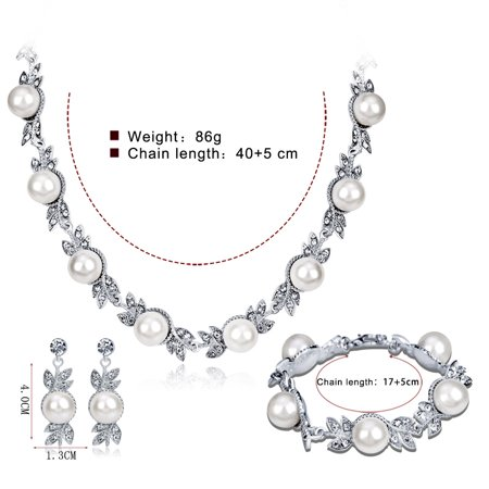 Women Elegant Bridal Jewelry Sets Rhinestone Pearl Necklace + Earrings + Bracelet for Wedding Valentine's Day Gift - image 3 of 7