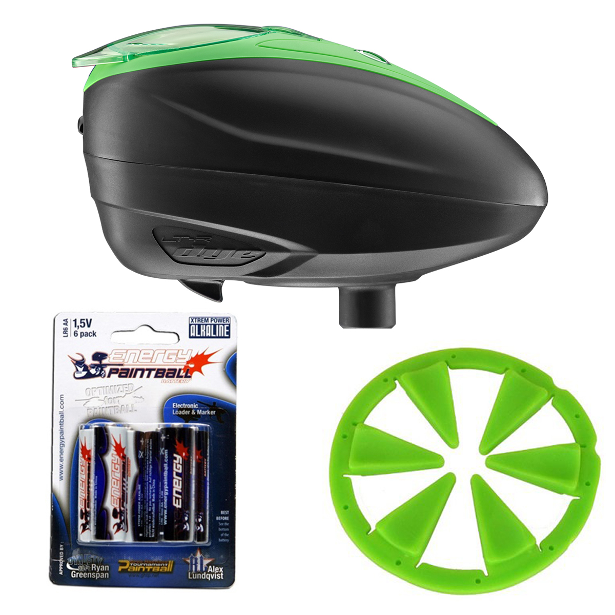 Wicked Sports Combo Dye LT-R Paintball Loader & Exalt Feedgate Lime by Wicked Sports