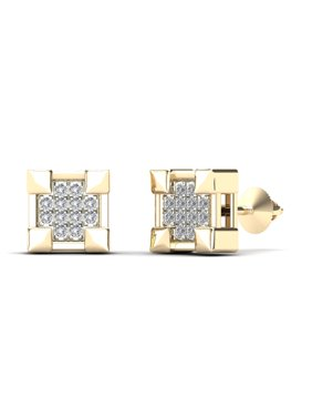 aaXia Men's 14K Yellow Gold Diamond Accent Claw Square Stud Earrings