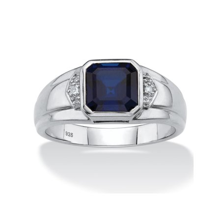 (Men's Created Blue Sapphire and Diamond Accent Ring 2.50 TCW in Platinum over Sterling Silver)