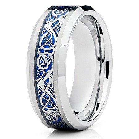 Tungsten Wedding Band Silver Polish Ring Blue Dragon Carbide Bevel Edge Comfort Fit Men Women