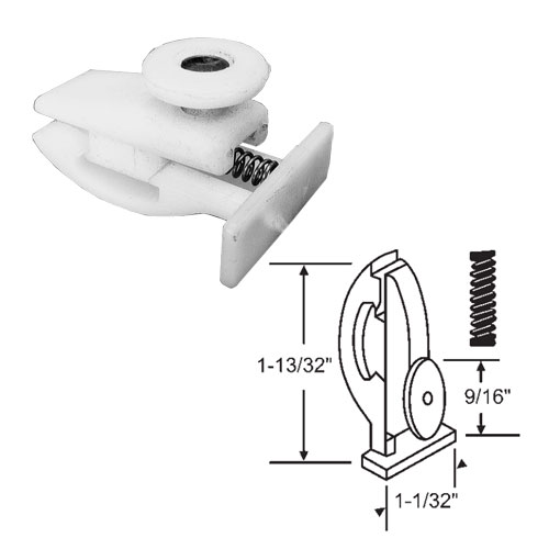 Nylon Guide with Single Roller Assembly for Retractable Shower Doors