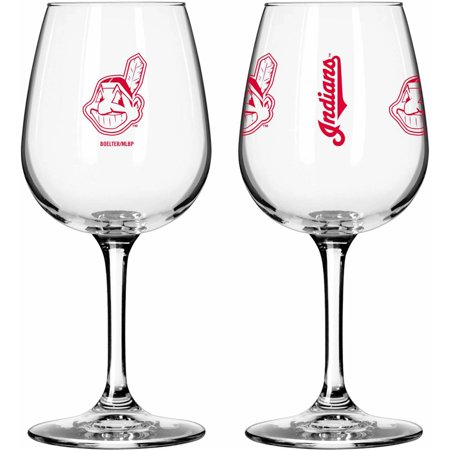 Boelter Brands MLB Set of Two 12 Ounce Wine Glass Set, Cleveland Indians by