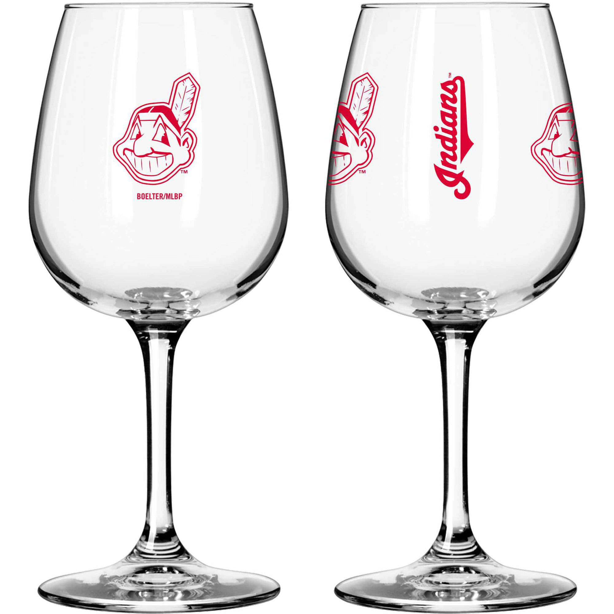 Boelter Brands MLB Set of Two 12 Ounce Wine Glass Set, Cleveland Indians