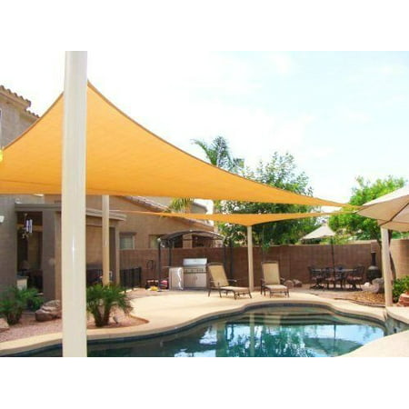 Petra's 18 Ft. X 18 Ft. X 18 Ft. Triangle Desert Sand Sun Sail Shade. Durable Woven Outdoor Patio Fabric w/ Up To 90% UV Protection. 18x18 Foot