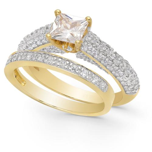 Dolce Giavonna Gold Over Sterling Silver Cubic Zirconia Bridal Ring Set Bridal Set, Size 9