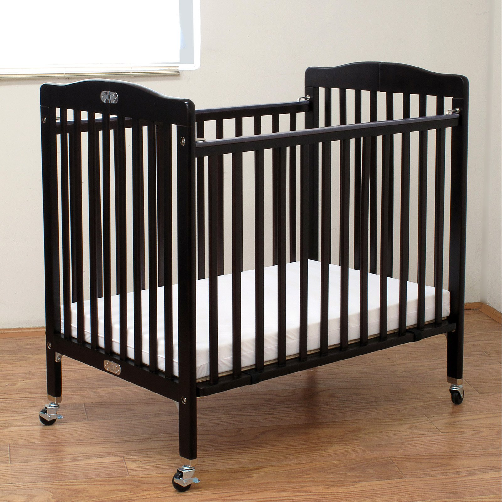 LA Baby Compact Wood Folding Crib With 3 In. Mattress   Cherry