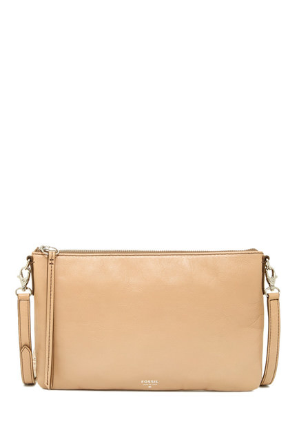 Fossil Sydney Top Zip Leather Crossbody - Taupe