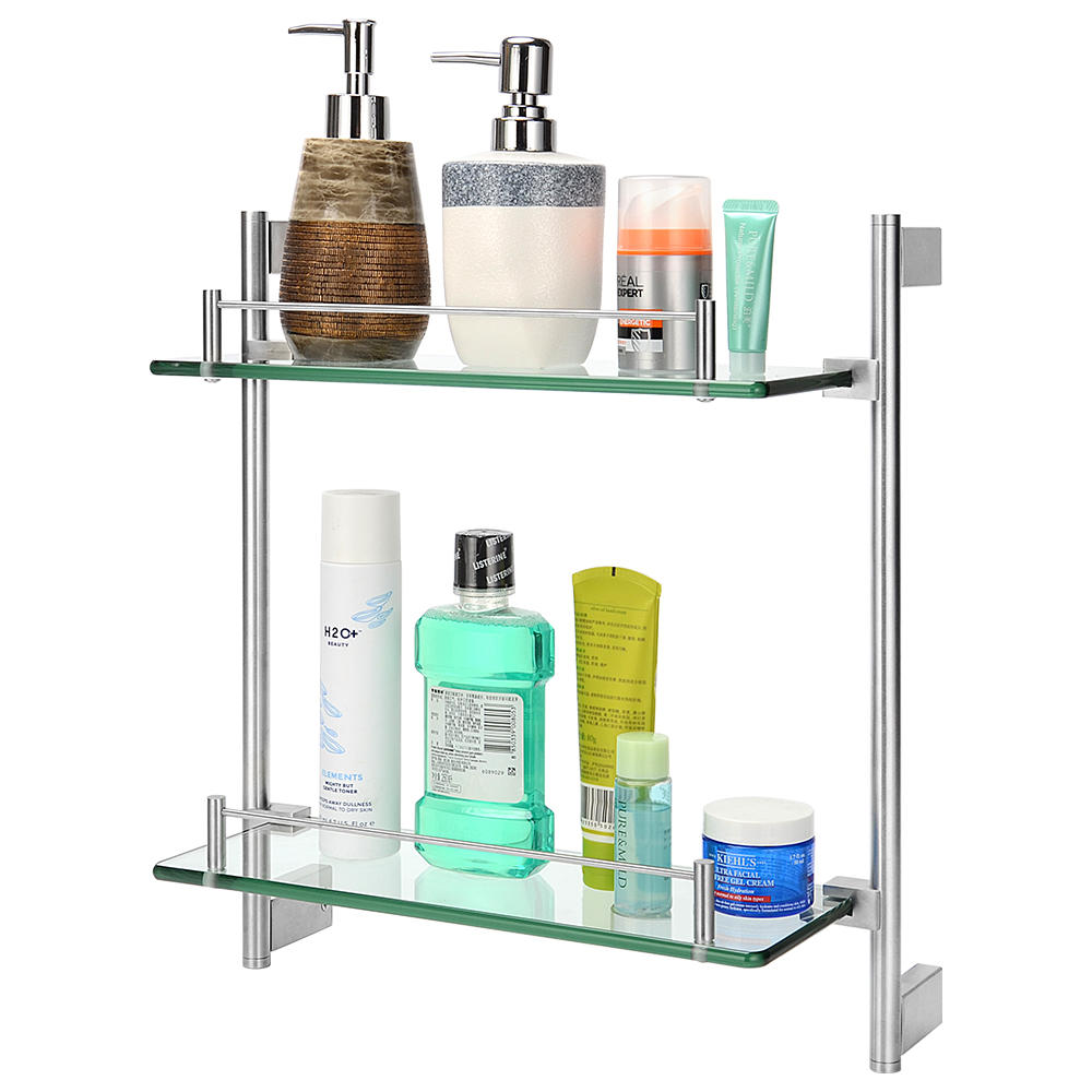 Double Tempered Glass Bathroom Shelf Wall Mounted Shower Storage 304 Stainless Steel Rail Walmart Canada