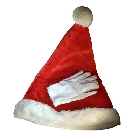 Santa's Helper Santa Claus Hat and White Gloves Set for Children - Michael Jackson Hat And Glove For Kids