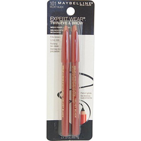 Maybelline Makeup Expert Wear Twin Eyebrow Pencils and Eyeliner Pencils, Velvet Black Shade, 0.06 oz (Pack of 2) (Eyeliner Makeup For Halloween)
